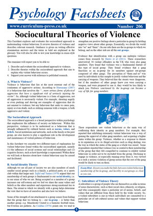 206 Sociocultural Theories Of Violence