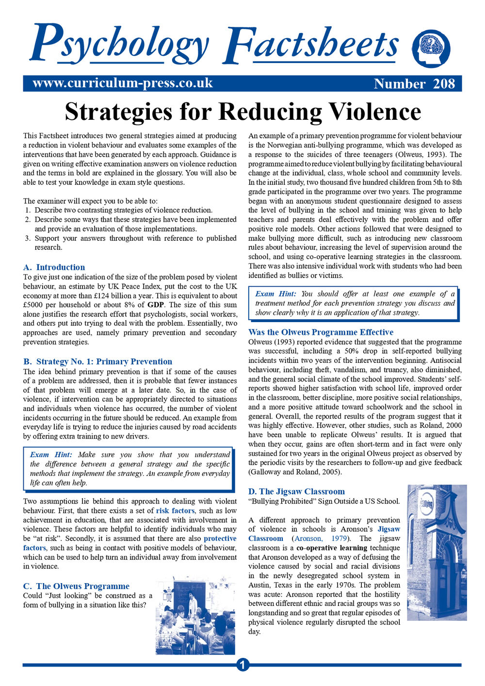 208 Strategies For Reducing Violence