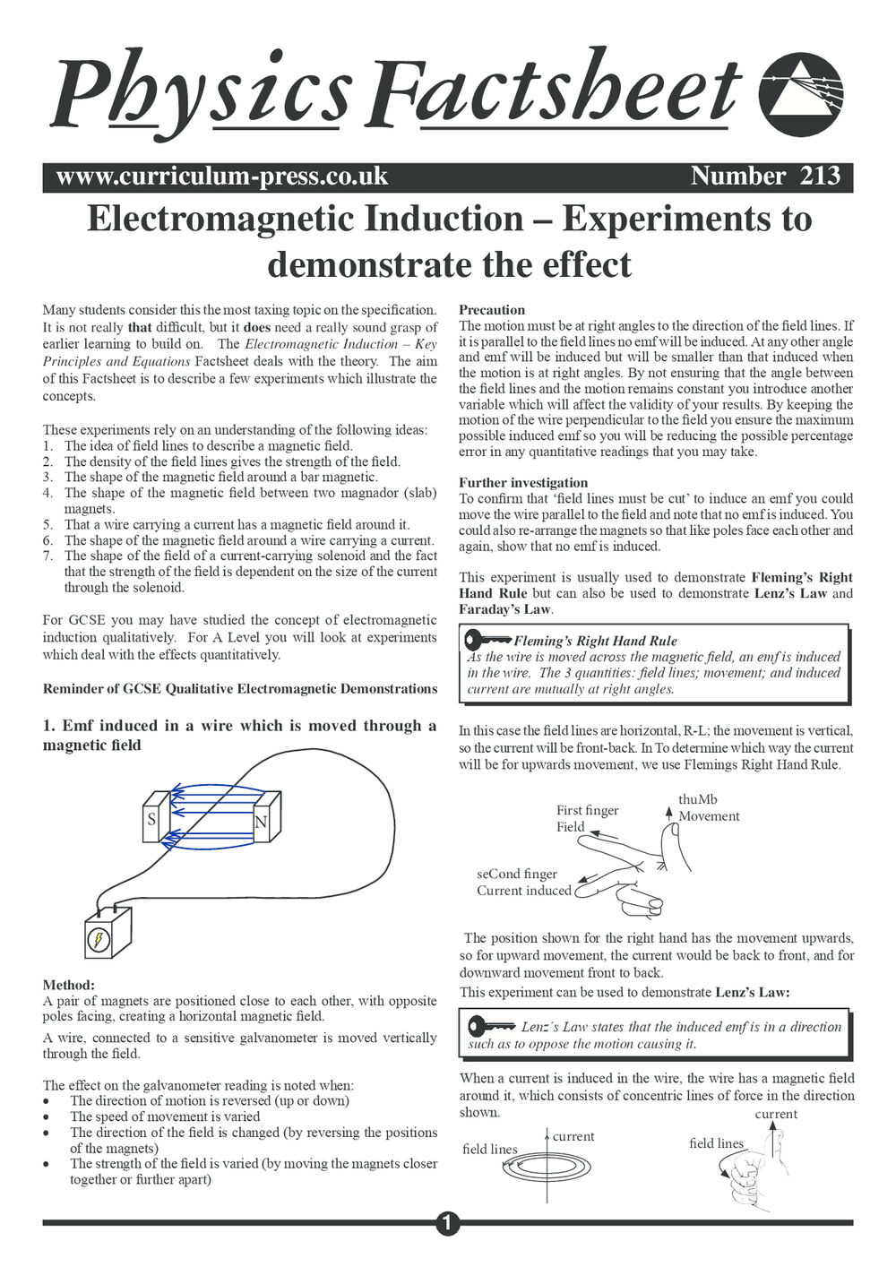 Electromagnetic Induction Experiments - Curriculum Press
