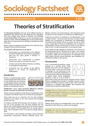 215 Theories of Stratification