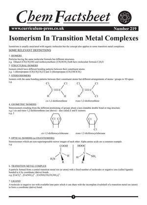 219 Isomerism In Transition Metal Complexes