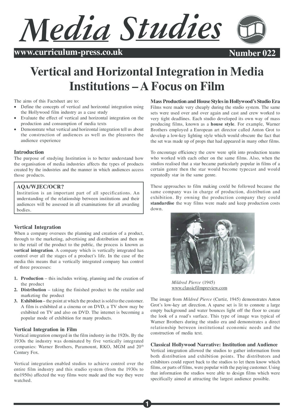 Curriculum Press - Vertical and Horizontal Integration in