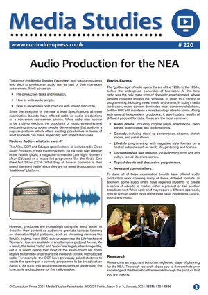 220 Audio Production for the NEA