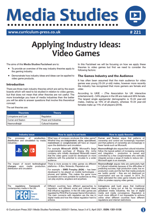 221 Applying Industry Ideas to Video Games