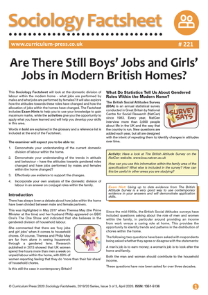 221 Are There Still Boys Jobs and Girls Jobs in Modern British Homes