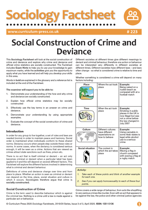 223 Social Construction of Crime and Deviance