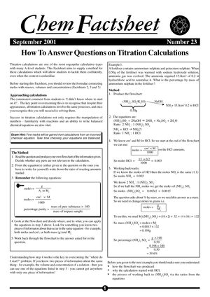 How to Answer Questions on Titration Calculations - Curriculum Press