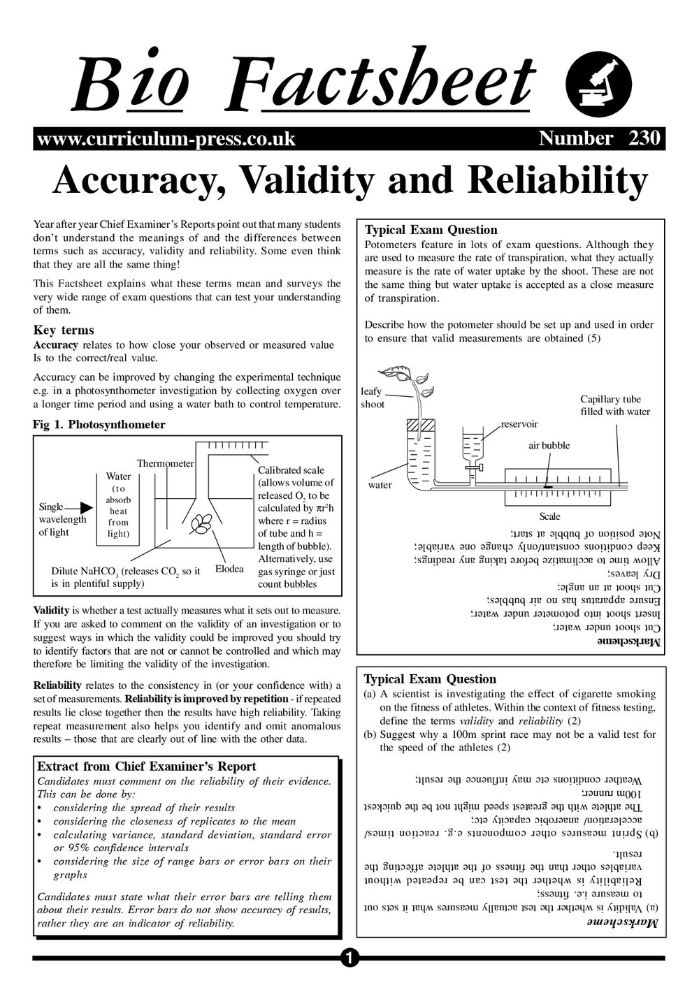 Accuracy Validity And Reliability Curriculum Press