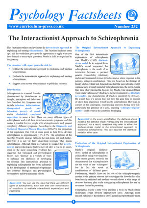 232 The Interactionist Approach To Schizophrenia
