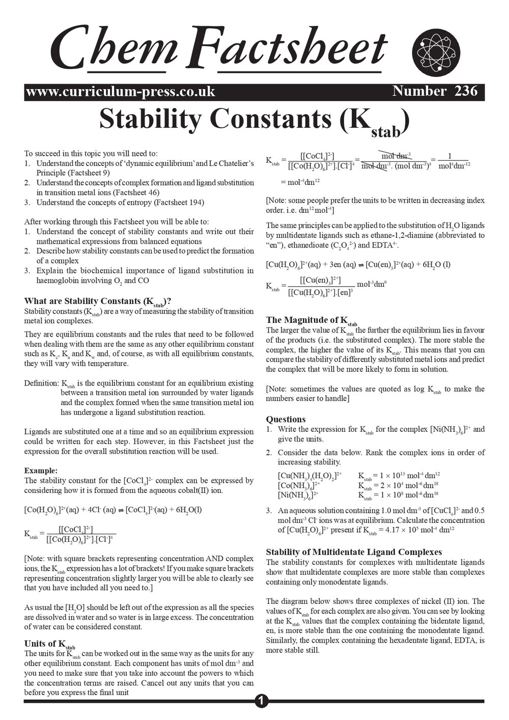 236 Stability Constants