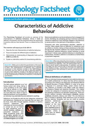 254 Characteristics of Addictive Behaviour