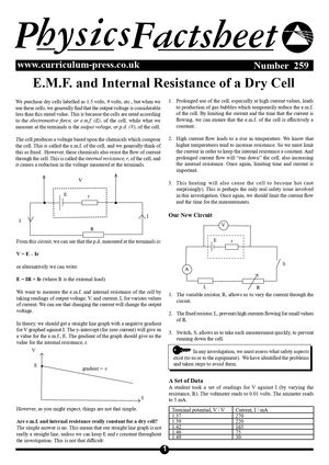 259 E M F Of A Dry Cell Sample