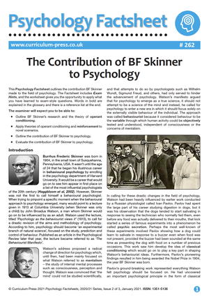 262 The Contribution of BF Skinner to Psychology