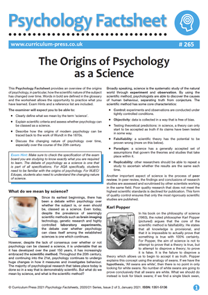 265 The Origins of Psychology as a Science
