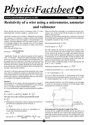 266 Resistivity Of A Wire
