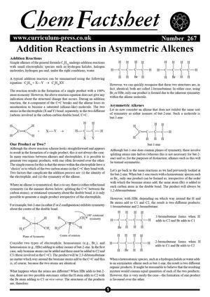 267 Addition Reactions   Asymmetric Alkenes