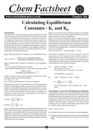 268 Calculating Equilibrium Constants