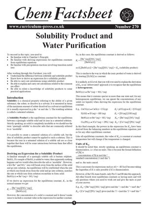 270 Solubility Product And Water Purification