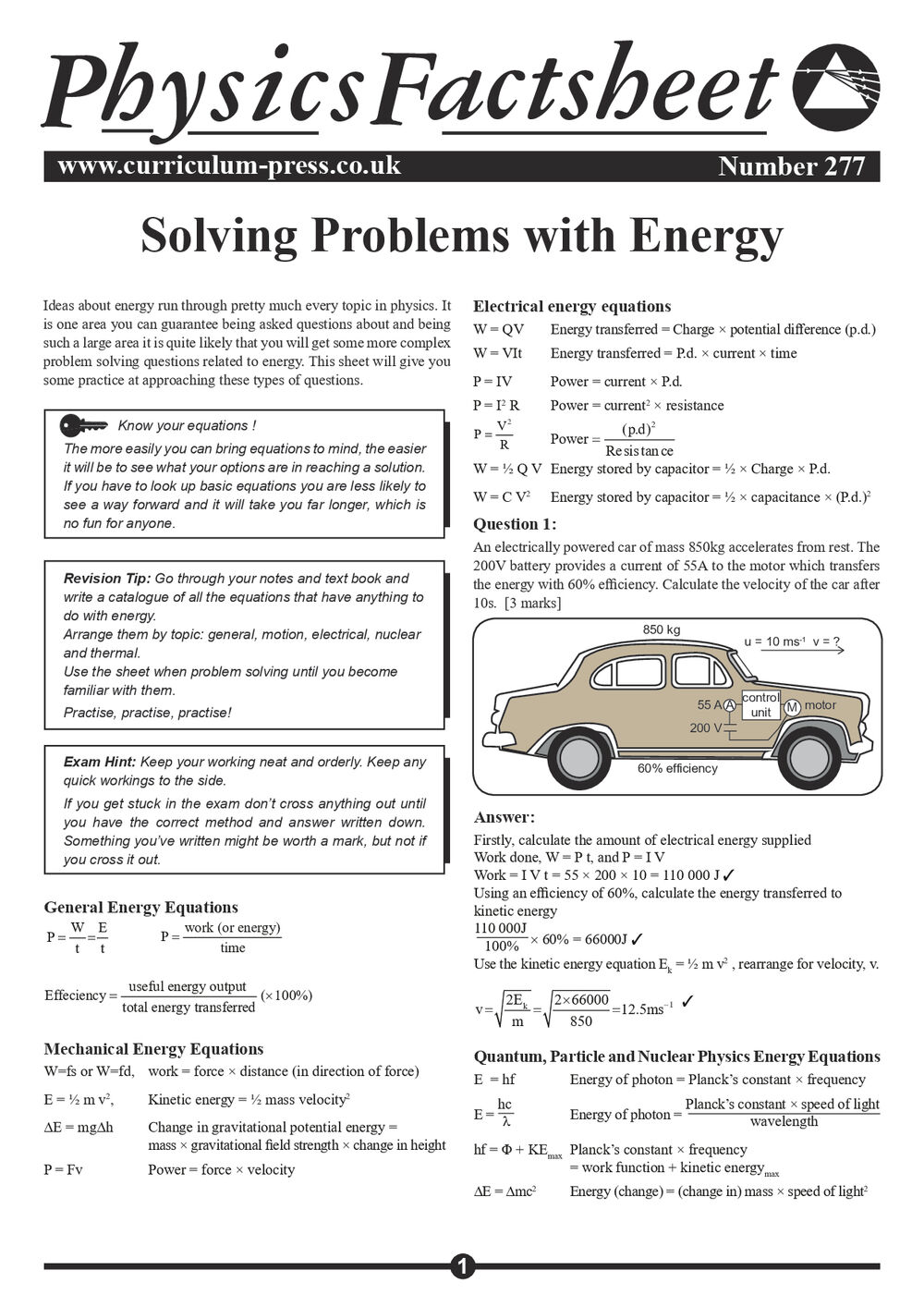277 Solving Problems With Energy