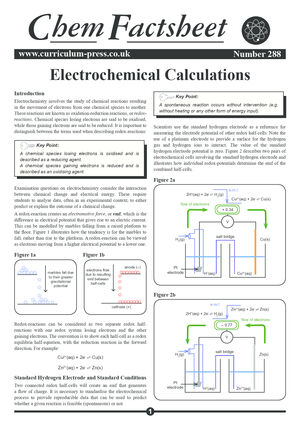 288 Electrochemical Calculations