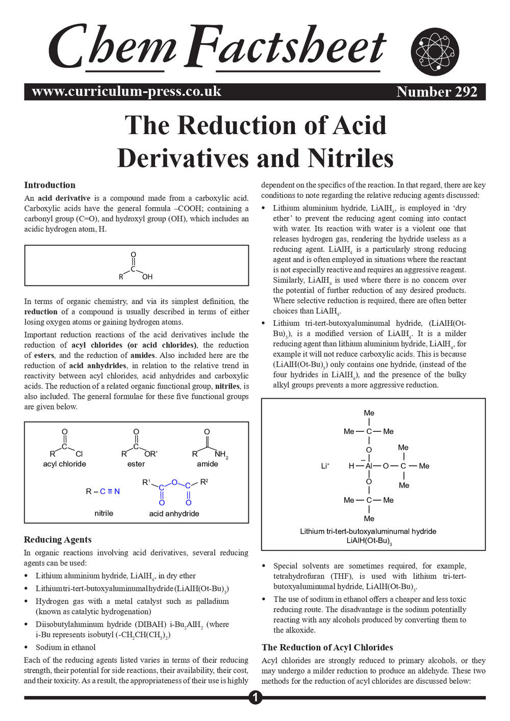 292 Reduction Acid Derivatives Nitriles