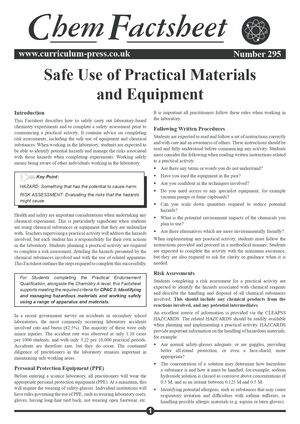 295 Safe Use Of Practical Materials And Equipment