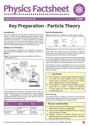 298 Key Preparation Particle Theory