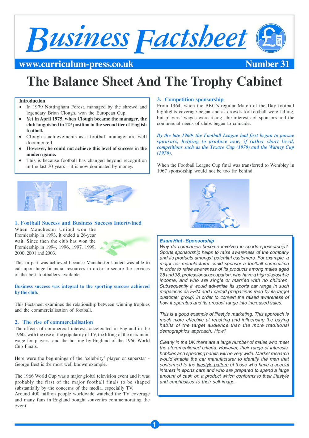 31 Balance Sheet And Trophy