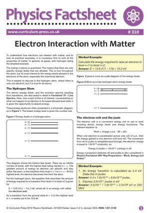 310 Electron Interaction with Matter