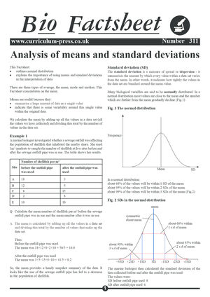 311 Analysis Of Means And Standard Deviations