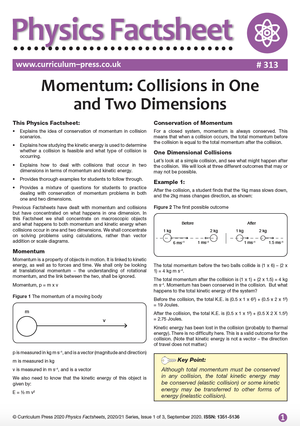313 Momentum Collisions in One and Two Dimensions