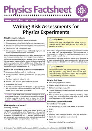 317 Writing Risk Assessments for Physics Experiments