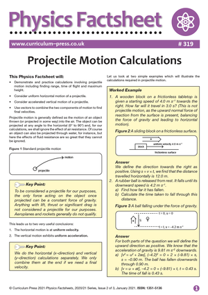 319 Projectile Motion Calculations