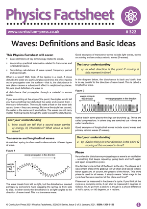 322 Waves Definitions and Basic Ideas
