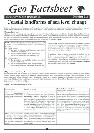 Coastal Landforms of Sea Level Change - Curriculum Press