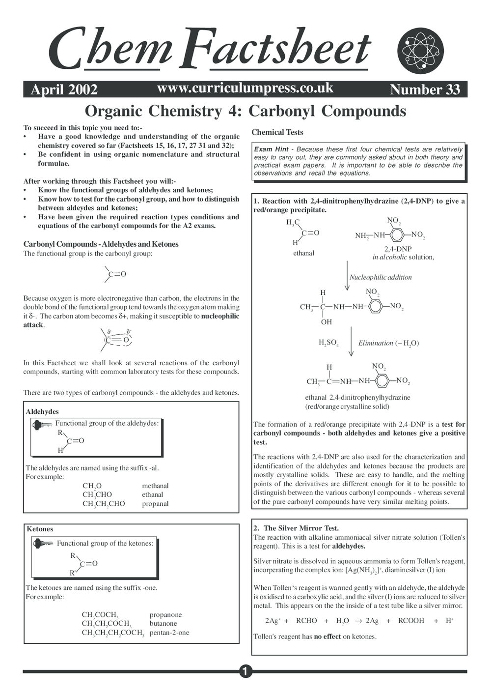 Organic Chemistry 4 – Carbonyl Compounds - Curriculum Press
