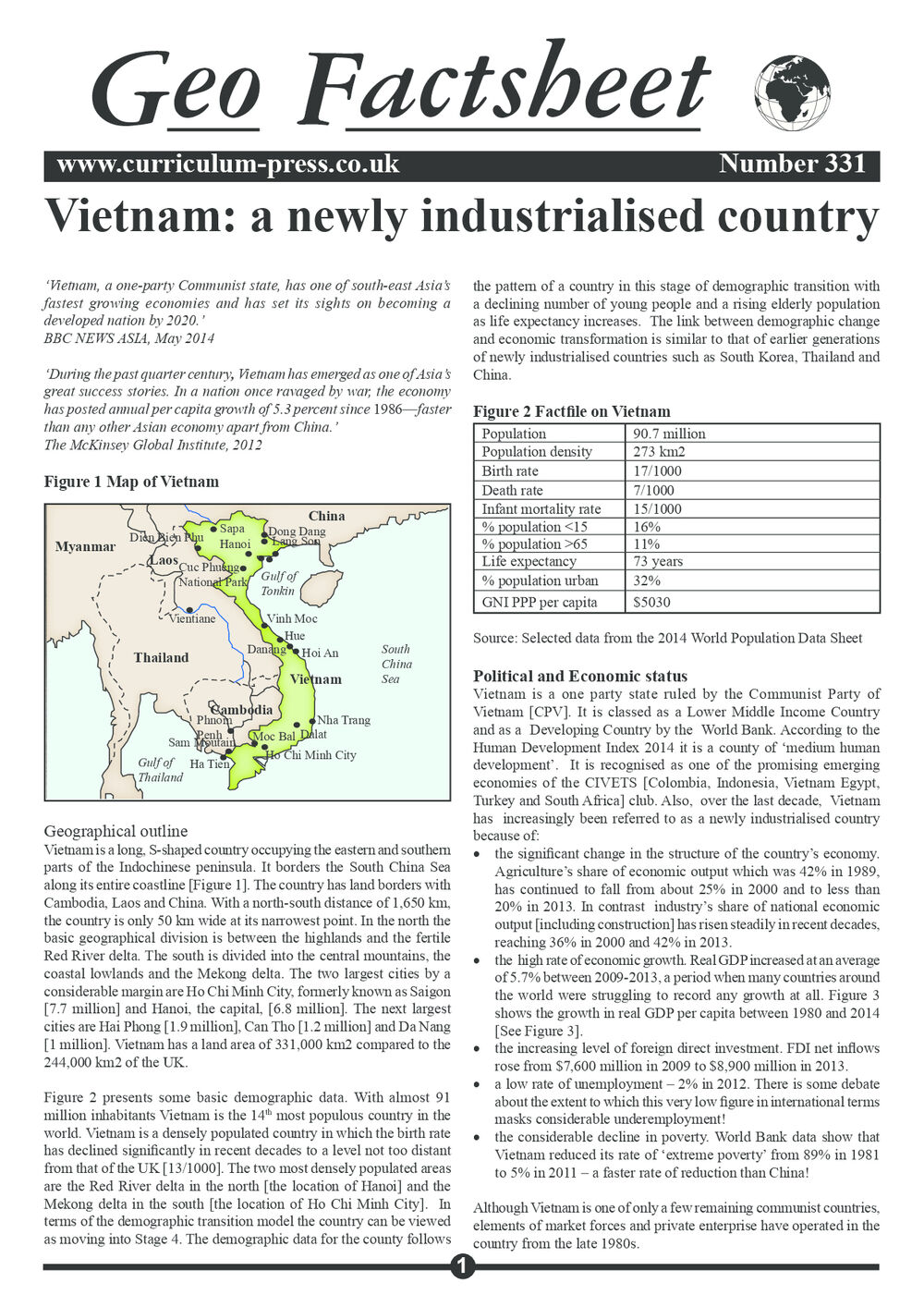 Vietnam: A Newly Industrialised Country - Curriculum Press