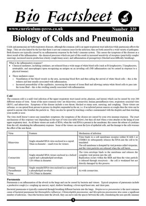 339 Biology Of Colds And Pneumonia