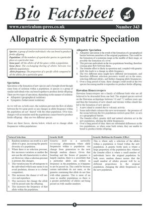 343 Allopatric & Sympatric Speciation