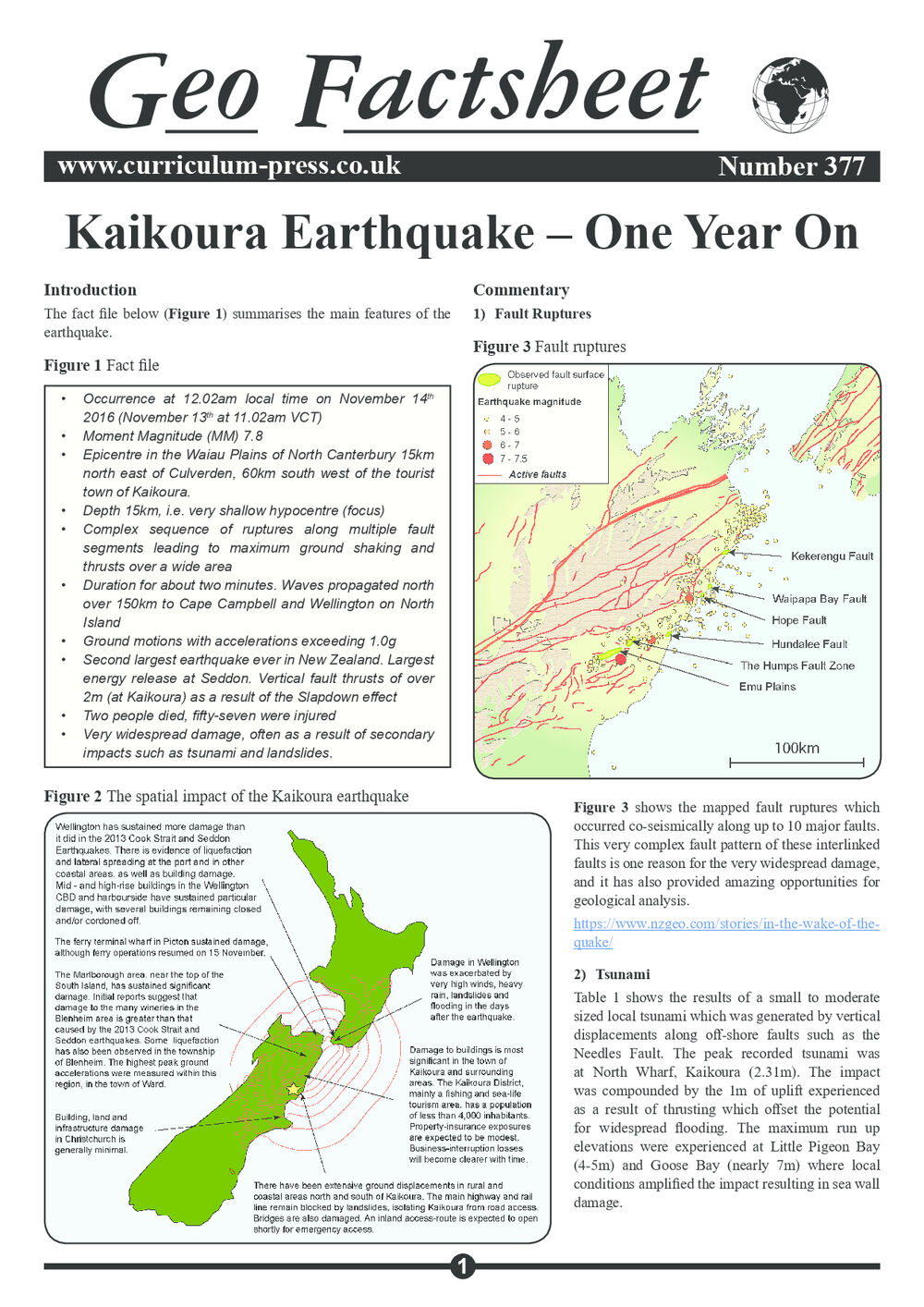 Kaikoura Earthquake – One Year On