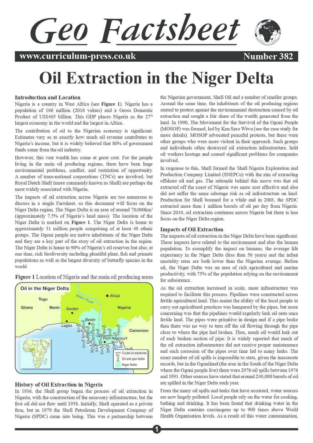 Oil Extraction in the Niger Delta - Curriculum Press