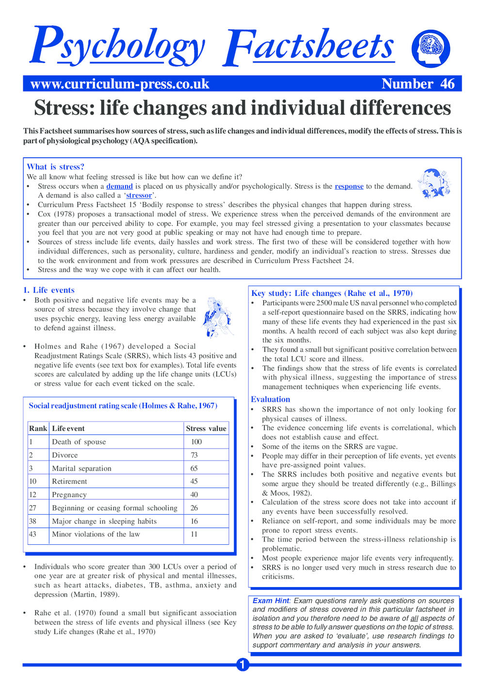 46 Stress Life Changes