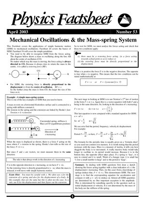 53 Mechanical Oscillations