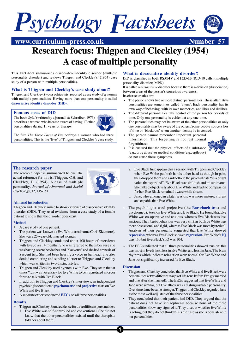 multiple personality disorder research paper