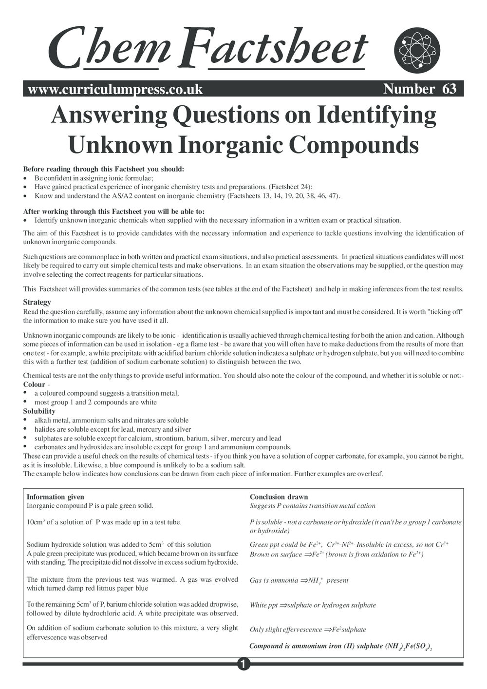 Answering Questions on Identifying Unknown Inorganic Compounds