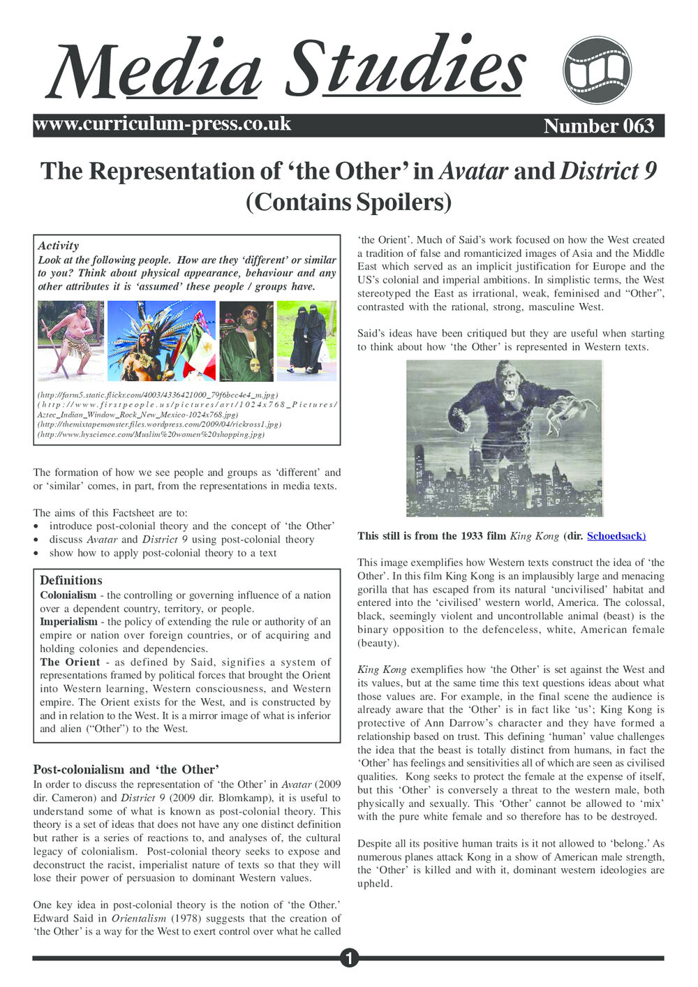 Curriculum Press - The Representation of 'The Other' in