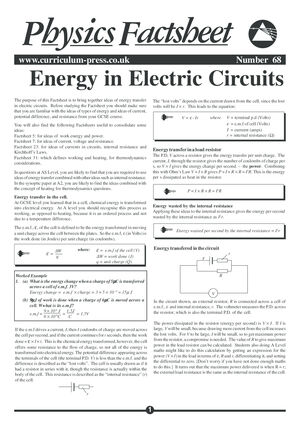 Energy in Electric Circuits - Curriculum Press
