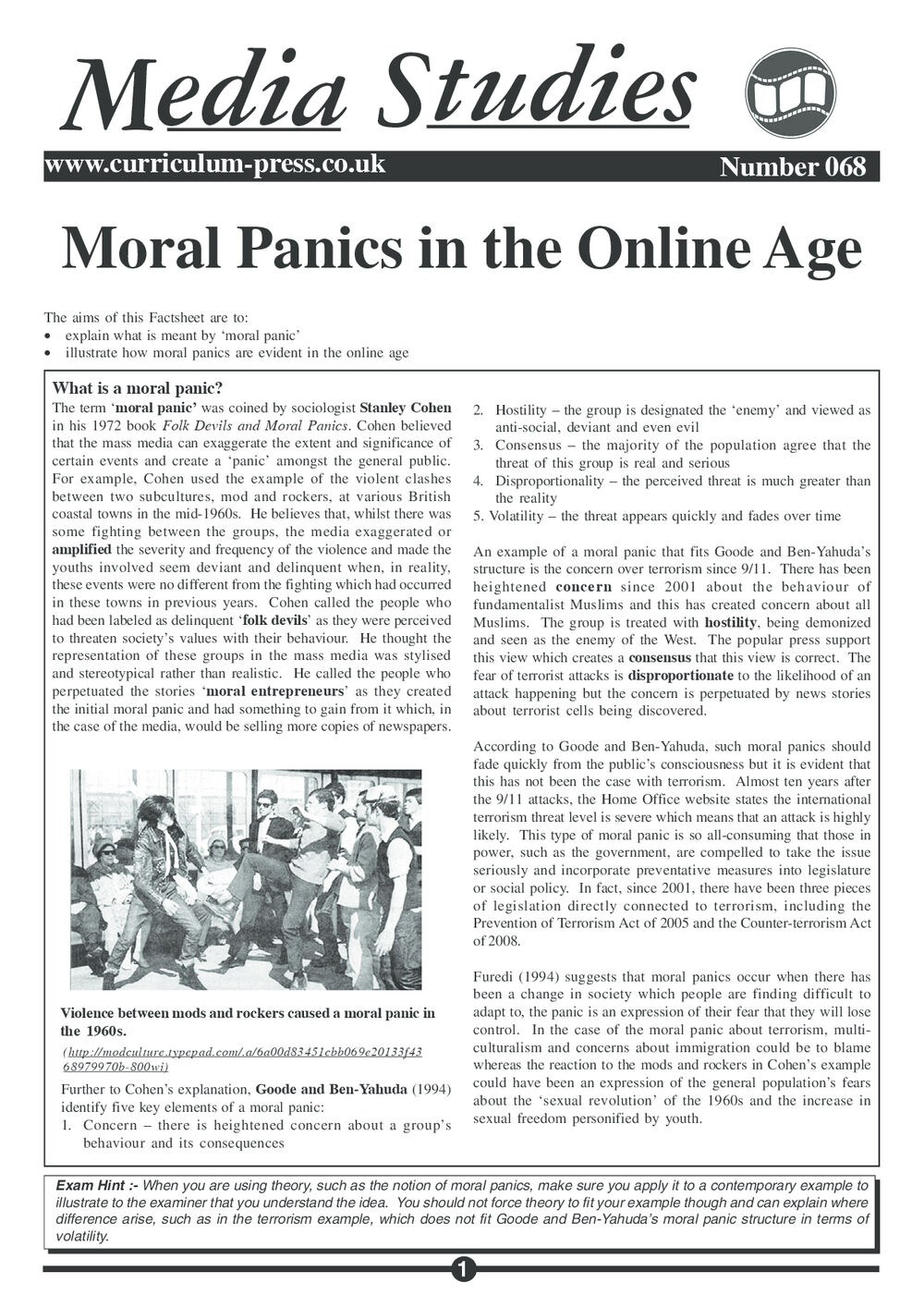 Curriculum Press - Moral Panics in the Online Age