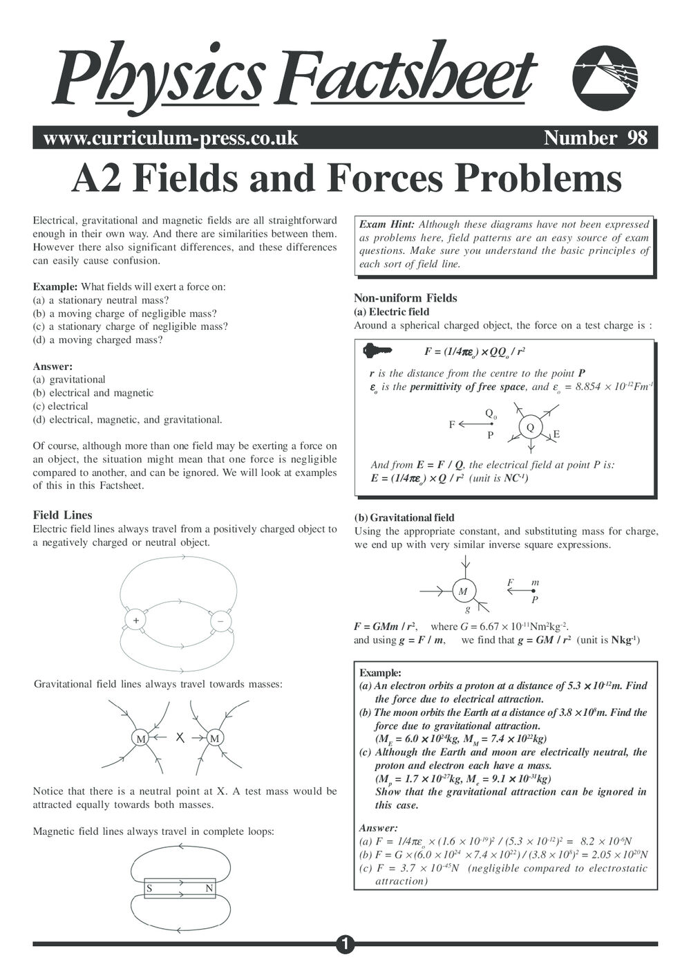 A2 Fields and Forces Problems - Curriculum Press