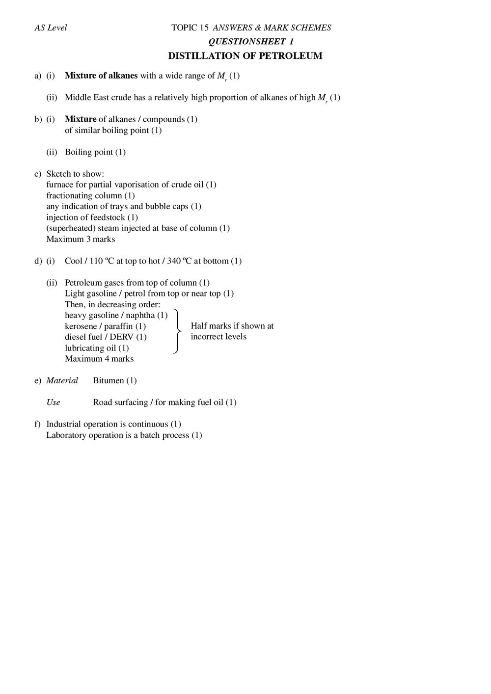Applied Organic Chemistry 1 Answers - AS - Curriculum Press